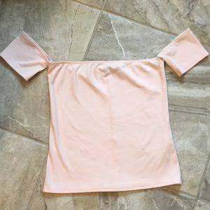 Reformation Light Pink Ribbed Cold Shoulder Top